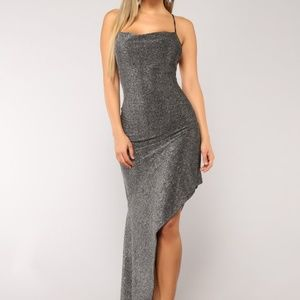 Too Hot For You Silver Shimmery Asymmetrical Dress